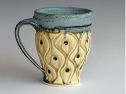 Small Carved Stoneware Mug