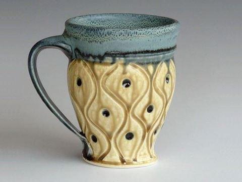 Small Carved Stoneware Mug