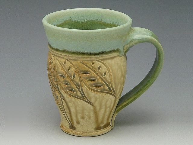 Picture of Small Carved Stoneware Mug