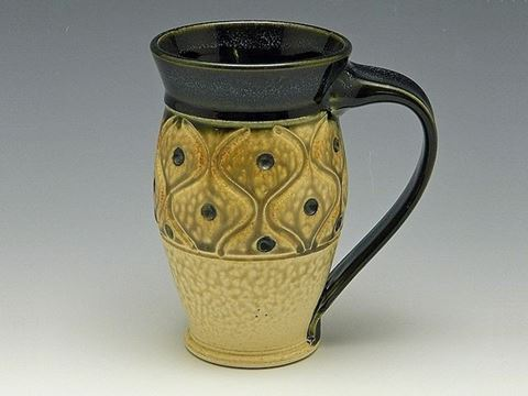 Large Carved Stoneware Mug