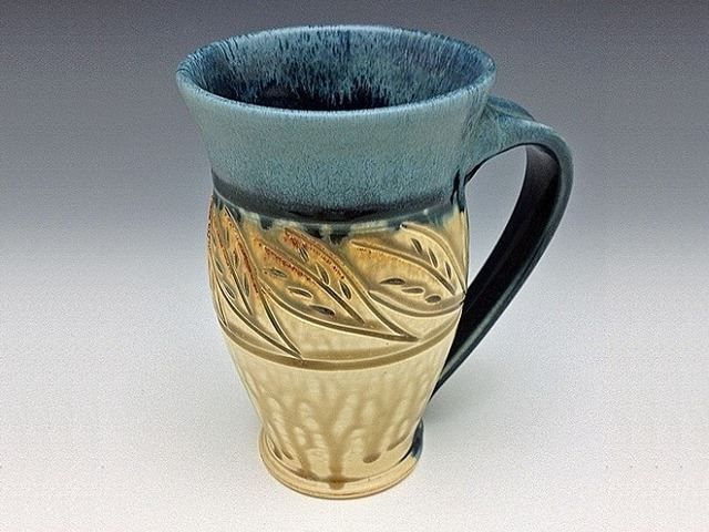 Picture of Large Carved Stoneware Mug