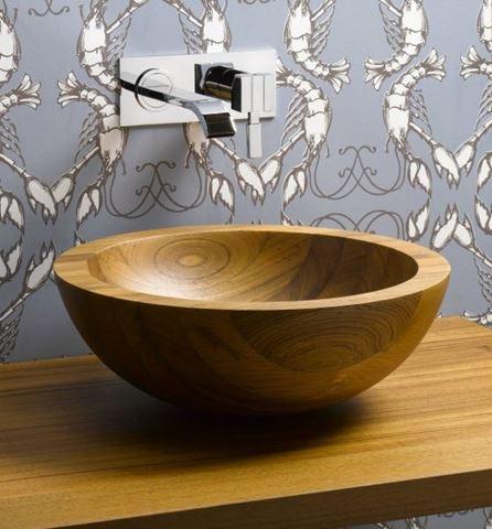 Helio Basin Teak Wood Vessel Sink