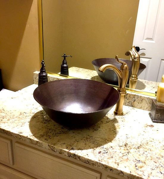 "Picture of 16"" Espeso Redondo Copper Vessel Sink by SoLuna"