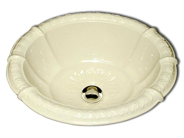 """Picture of Marzi 17"""" Fluted Oval Sink with Romanesque Relief Rim"""
