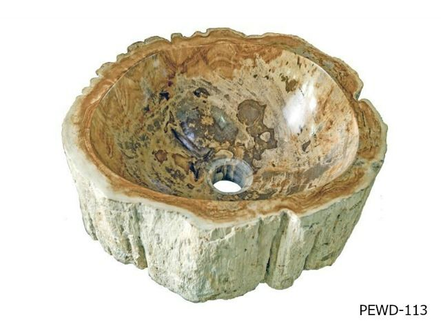 "Picture of Small Brown and Taupe Petrified Wood Sink 13""-14"""