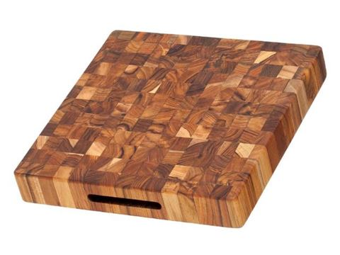 End Grain Square Teak Wood Board with Hand Grips by Proteak