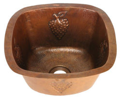 "Picture of 15"" Copper Bar Sink w/Rounded Edge - Grapes by SoLuna"