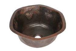 Picture of Hexagon Grape Cluster Design Copper Prep Sink By SoLuna
