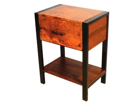 Flat Iron Nightstand with Copper Panels and Iron Legs