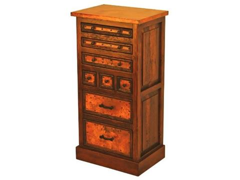 8-Drawer Tall Dresser with Copper Panels