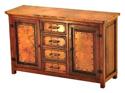 Francisco Copper and Old Wood Buffet - 2 Doors and 4 Drawers