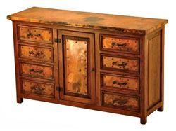 Francisco Copper and Old Wood Buffet - 1 Door and 8 Drawers