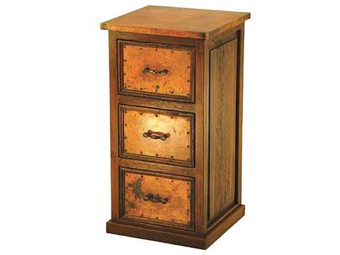 3-Drawer File Cabinet with Copper Panels