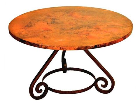Aztec Round Dining Table with Copper Tabletop