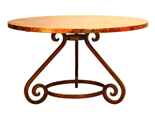 Picture of Aztec Round Dining Table with Copper Tabletop