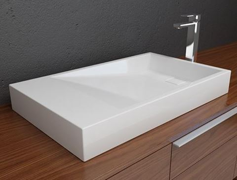Solid Surface Contemporary White Sloping Bath Sink III