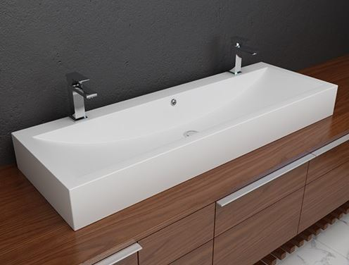 Picture of Solid Surface Double Countertop Sink