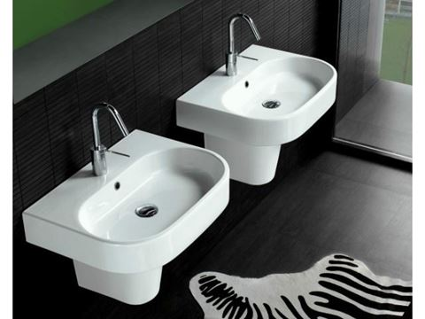 Bissonnet Pro Area Semi-Pedestal Ceramic Sink