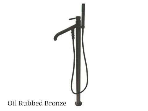 Kingston Brass Concord Floor Mount Single Post Tub Filler Faucet with Hand Shower