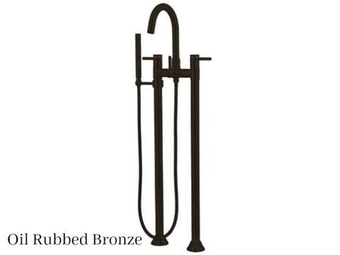 Kingston Brass Concord Floor Mount Tub Filler Faucet with Hand Shower