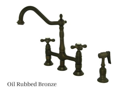 Kingston Brass Heritage Bridge Kitchen Faucet with Side Spray