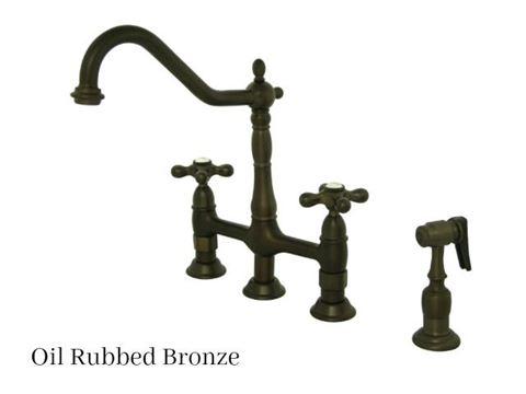 Kingston Brass Heritage Bridge Kitchen Faucet with Side Spray