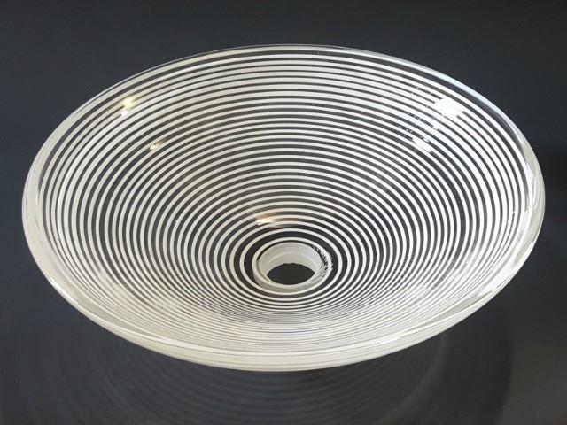 Blown Glass Sink | White Spiral
