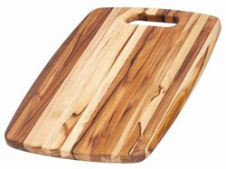 Picture of Edge Grain Marine Rounded Rectangle Teak Cutting Board with Centered Hand Hole