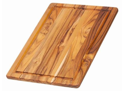 Edge Grain Marine Rounded Rectangle Teak Cutting Board with Juice Canal