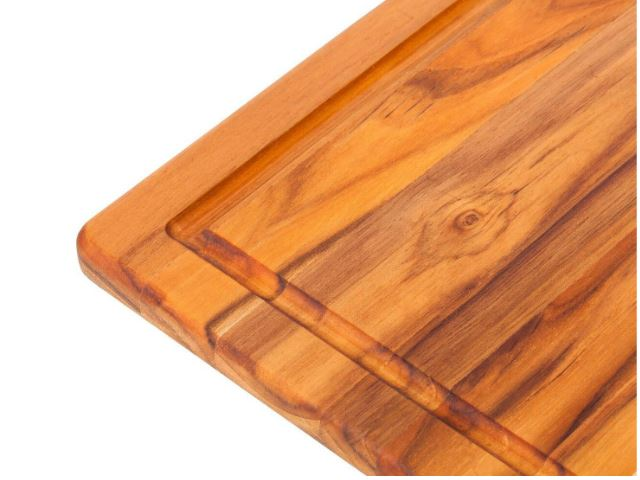 Picture of Edge Grain Marine Rounded Rectangle Teak Cutting Board with Juice Canal