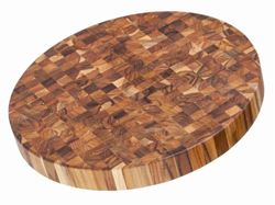 End Grain Butcher Circular Teak Wood Board by Proteak