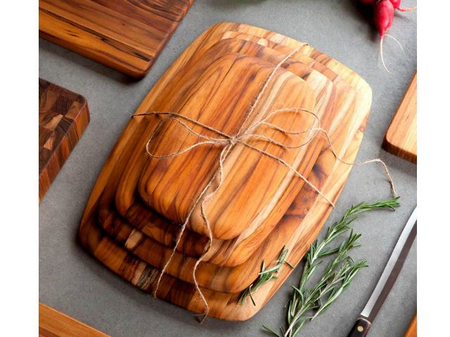 Picture of Rectangle Edge Grain Gently Rounded Edge Serving Board by Proteak 12 inch