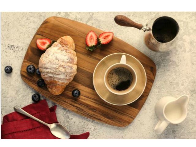 Picture of Rectangle Edge Grain Gently Rounded Edge Serving Board by Proteak 14 inch