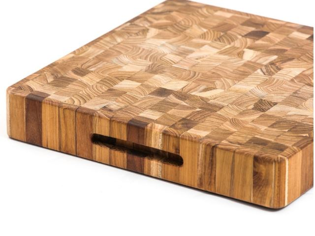 Picture of End Grain Square Teak Wood Board with Hand Grips by Proteak