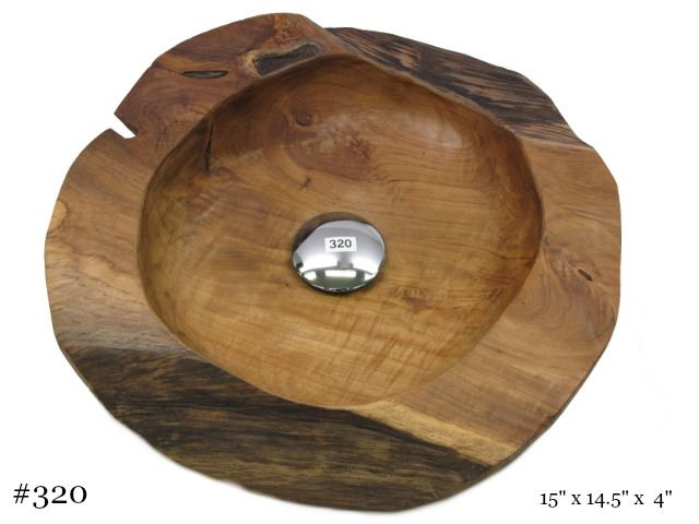 Picture of Teak Wood Vessel Sink - Round
