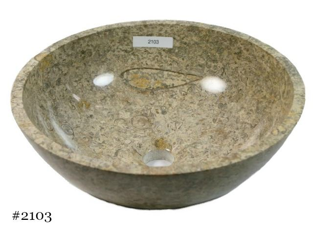 Picture of SoLuna Oceanic Fossil Round Stone Vessel Sink