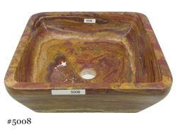 SoLuna Square Vessel Sink in Rare Red Onyx