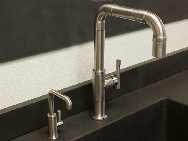 Picture of Sonoma Forge   Kitchen Faucet   Brut Elbow Spout   Deck Mount   Pull-out