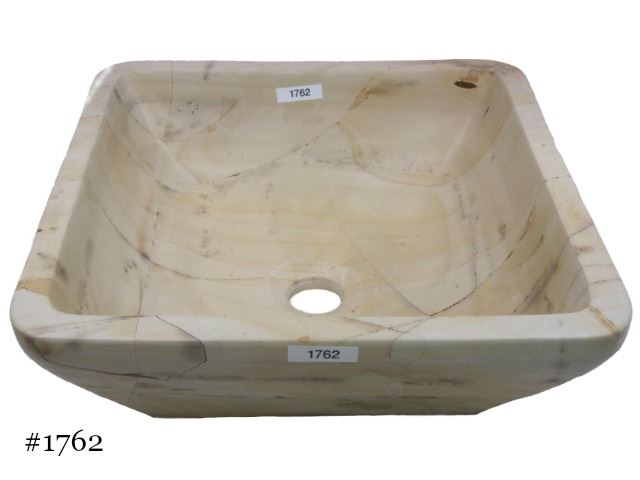 Picture of Teak Wood Stone Square Vessel
