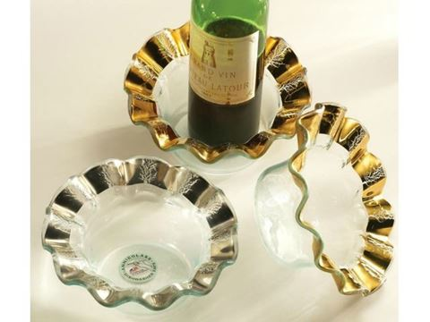 Ruffle Glass Wine Coaster or Candle Holder