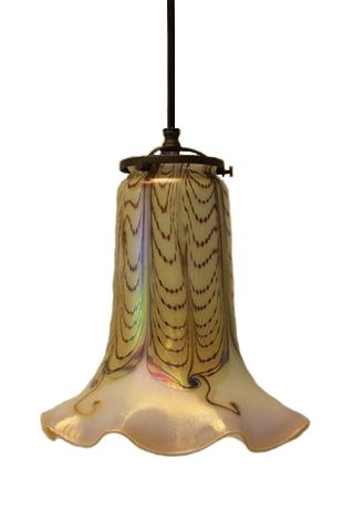 Picture of Double Feather Ruffled Trumpet Shade Pendant Light