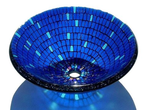 Picture of Blue Mosaic Vessel Sink