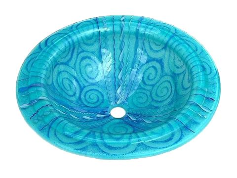 Picture of Light Aqua Venetian Glass Sink with Blue Canes