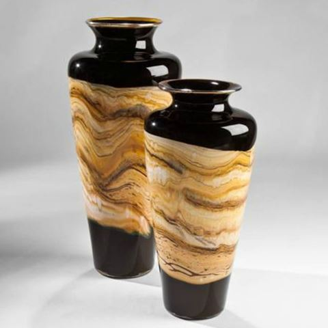 Blown Glass Vase | Black Strata