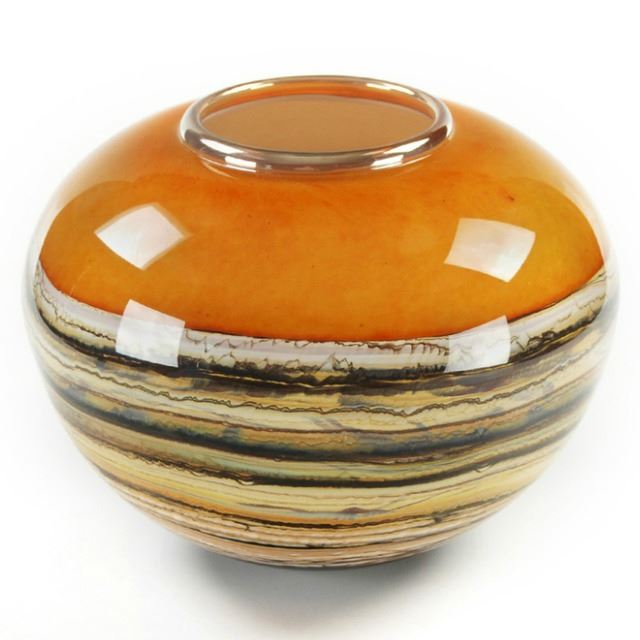 Picture of Blown Glass Vase | Tangerine Round Strata