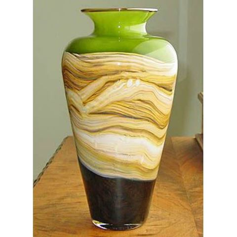 Blown Glass Vase | Lime Strata