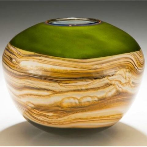 Blown Glass Vase | Lime Round Strata