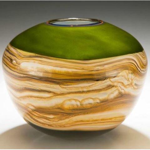 Blown Glass Vase | Lime Round Strata