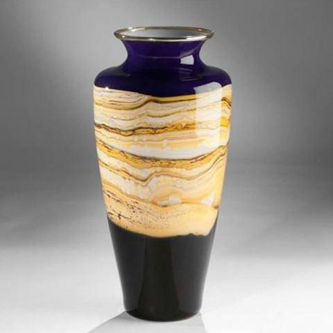 Blown Glass Vase | Cobalt Strata