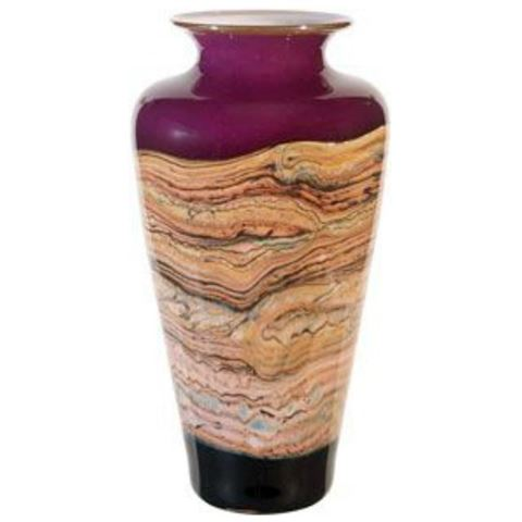 Blown Glass Vase | Red Amethyst Strata